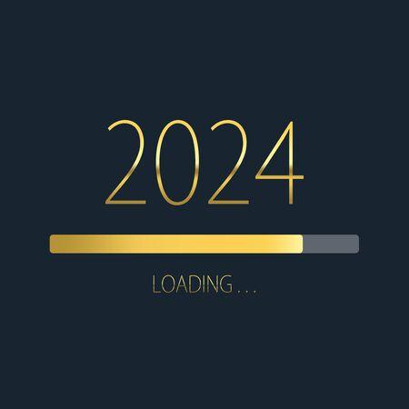 2024 happy new year golden loading progress bar isolated on dark background. Stock Photo