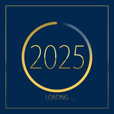 2025 happy new year golden loading progress bar isolated on blue background.