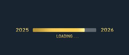 Golden loading progress bar of 2025, 2026, happy new years isolated on dark background. Stock Photo