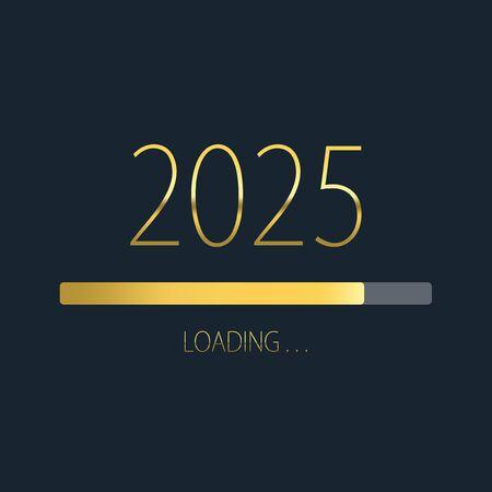 2025 happy new year golden loading progress bar isolated on dark background.