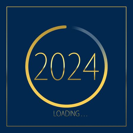 2024 happy new year golden loading progress bar isolated on blue background.