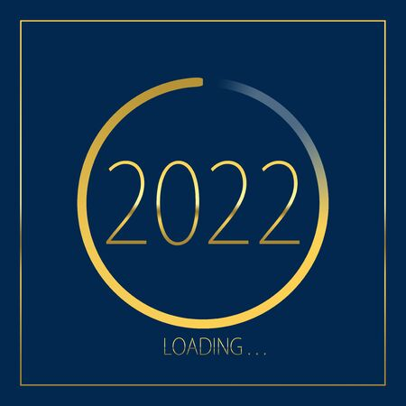 2022 happy new year golden loading progress bar isolated on blue background.