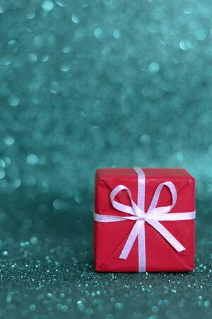 defocused light bokeh with gift packages
