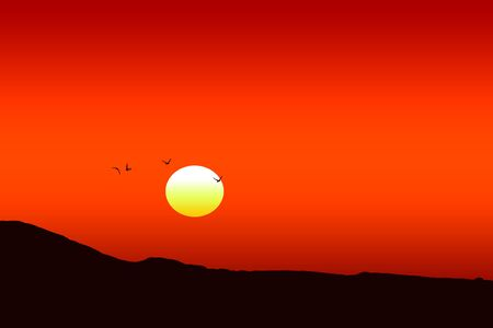 Illustration of a beautiful red sunset