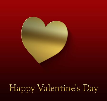 Happy Valentine's Day cover with gold-colored heart on a red gradient background and gold-colored writing