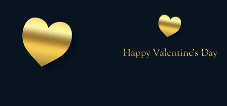 Happy Valentine's Day cover with gold heart on a blue black background and the inscription in gold color Stock fotó
