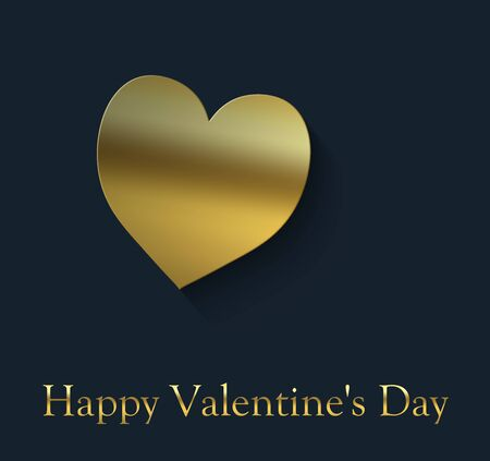 Happy Valentine's Day cover with gold heart on a blue black background and the inscription in gold color