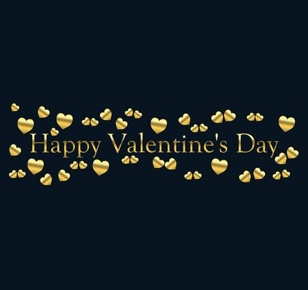 happy valentine's day with little hearts of gold color on a blue black background and the inscription of gold color Stock fotó