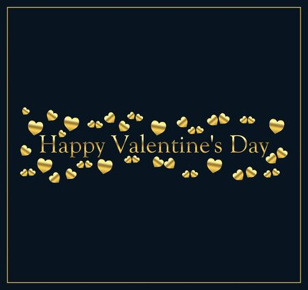 happy valentine's day with little hearts of gold color on a blue black background and the inscription of gold color