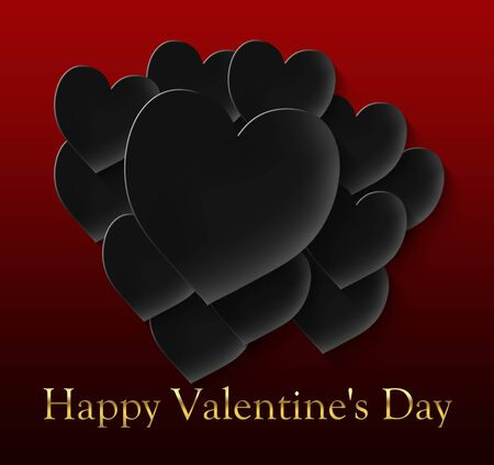 happy valentine's day with 12 black hearts on a red gradient background and gold lettering