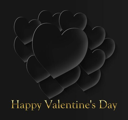 happy valentine's day with 12 black hearts on a black background and the inscription in gold color Stock fotó