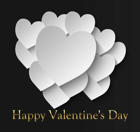 happy valentine's day with 12 white hearts on a black background and the inscription in gold color