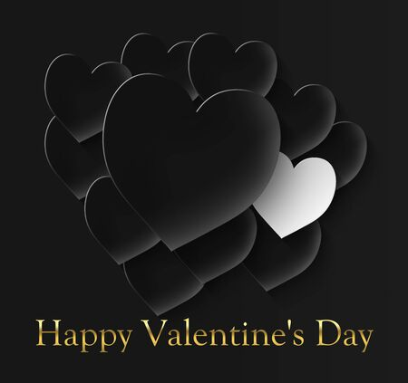happy valentine's day with 11 black hearts and one white on a black background and the inscription in gold color