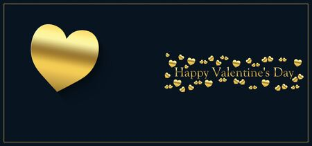 happy valentine's day with heart of gold color on a blue black background and the inscription of gold color Stock fotó