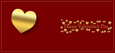 happy valentine's day with gold heart on a red background and gold lettering