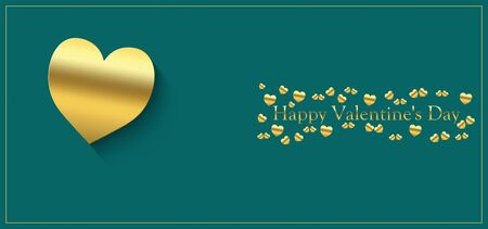 happy valentine's day with heart of gold color on a green background and the inscription of gold color