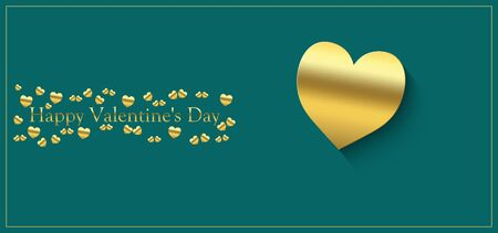 happy valentine's day with heart of gold color on a green background and the inscription of gold color Stock fotó