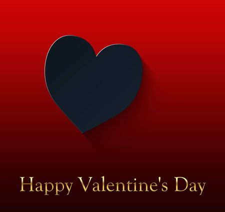 happy valentine's day with black heart on red gradient background and gold colored lettering