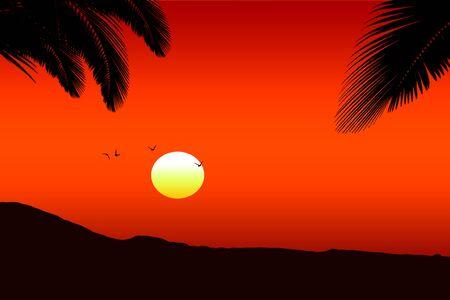 Tramonto hawaiano rosso con sagome di palme