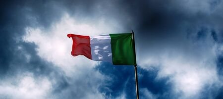 Italy flag and dramatic clouds.