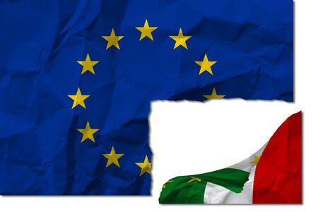 Italian flag torn from that of Europe. Italian flag torn from the flag of Europe.