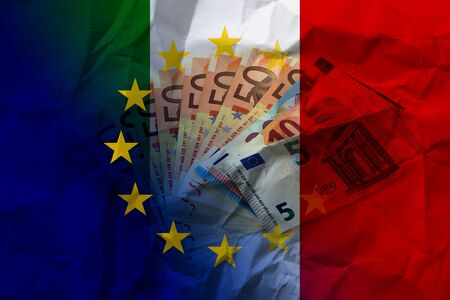 Europe Italy flag and banknotes on crumpled paper.