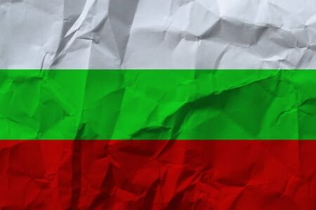 Bulgaria national flag on crumpled paper.