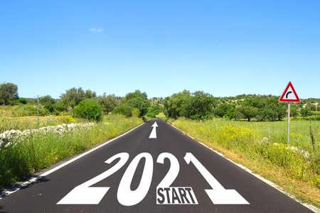 happy new year 2021, road start
