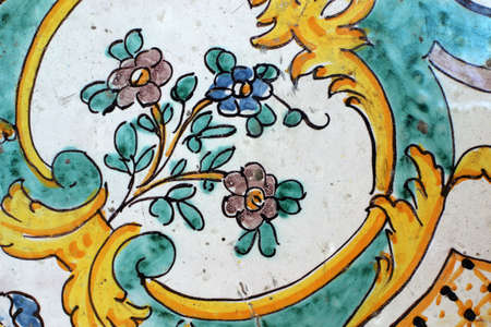 Hand-decorated Sicilian tile from Caltagirone