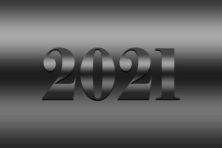 Happy New Year 2021. silver background Text illustration - Silver background with text 2021 silver illustration - New Year 2021 Background illustration. Archivio Fotografico - 159256602