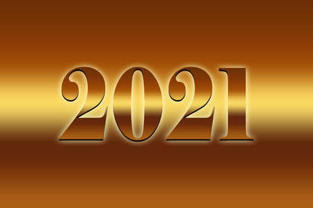 Happy New Year 2021. golden background Text illustration - Golden background with text 2021 golden illustration - New Year 2021 Background illustration. Archivio Fotografico - 159256606