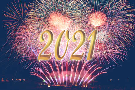 New year with fireworks 2021. Happy new year 2021. Number 2021 in modern concept. Text 2021.