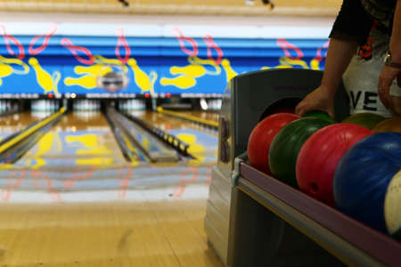 colored bowling balls.Bowling alley.Generic bowling alleys.