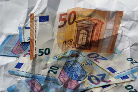 Euro banknotes.Pile of paper euro banknotes.Euro European currency - money.Euro cash background. Archivio Fotografico - 159428893