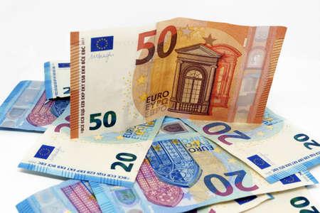 Euro banknotes.Pile of paper euro banknotes.Euro European currency - money.Euro cash background. Archivio Fotografico