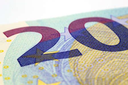 Close up of a twenty euro banknote. Archivio Fotografico