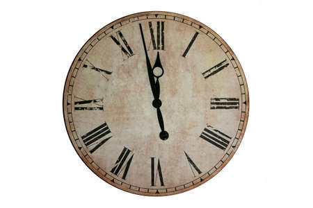 Midnight wall clock. Wall clock that marks a few minutes to midnight. 版權商用圖片