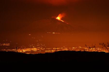Landscape with Etna in eruption Stok Fotoğraf