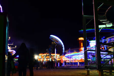 Park with rides at night Stok Fotoğraf - 160415429