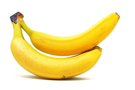 Two yellow bananas on a white background