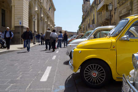 25-05-2014 Members of the Italian Fiat 500 automobile club organize a rally in Palazzolo Acreide, Syracuse, Sicily. vintage car fiat 500,