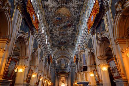 Interior of the basilica of San Sebastiano, Melilli, Syracuse, Sicily.