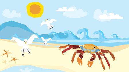 zeegezicht en zeedieren; grillige illustratie