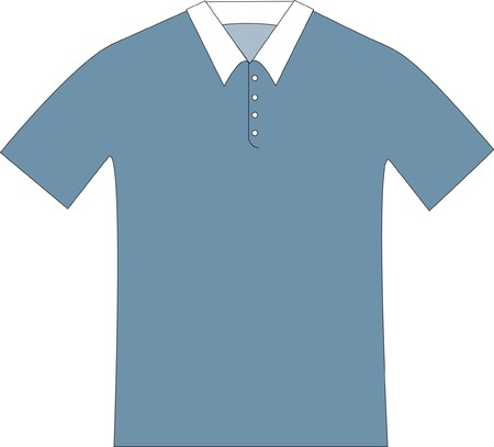patterndrawing of a blue-gray polo shirt with a white collar