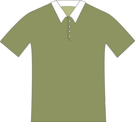 pattern drawing of a sage color polo shirt with a white collar