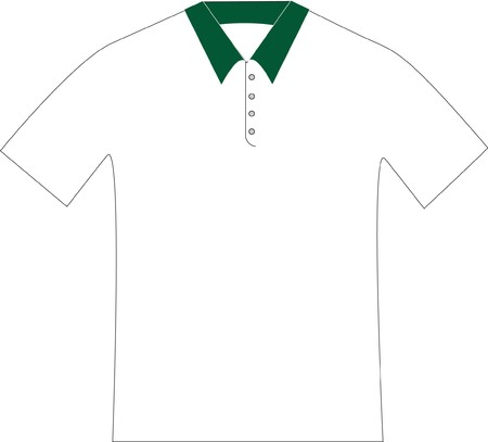 drawing of a white green polo shirt