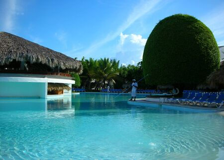 swimming pool at tropical resort