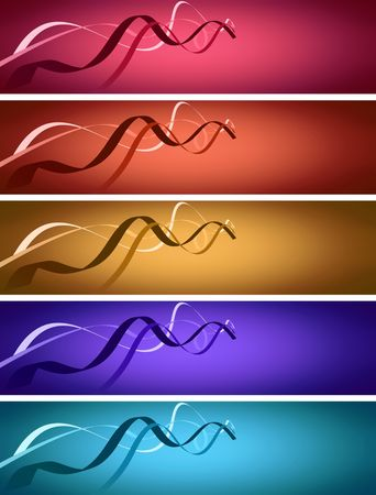 path strand banner in 5 colors; computer generated illustration