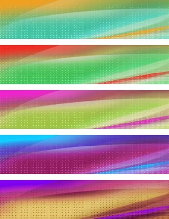five multicolor banners; computer generated image Imagens