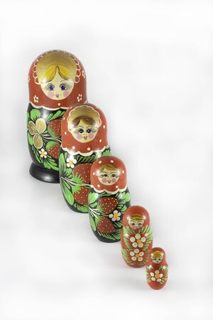 Matryoshka dolls ordered from large to small Stock Photo
